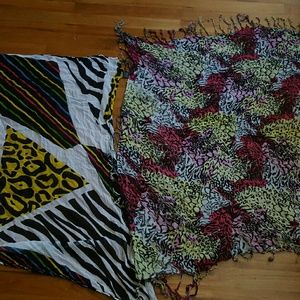 2 exotic colored scarves